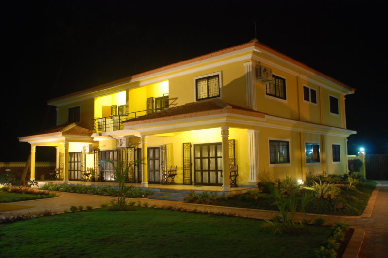 Night view of apartments for rent at Vagator in Goa